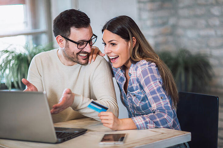 Couple making financial decision together